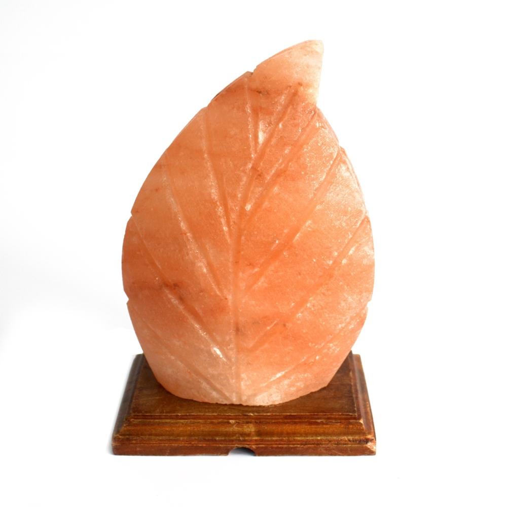 Salzlampe – Blatt (Holzsockel)