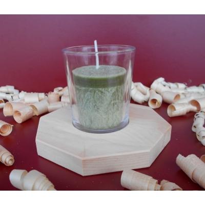 SET Zirbenduftkerze im Votivglas mit Zirbenholz-Kerzenhalter
