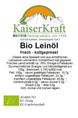 Bio Leinsamen-Kaltpressung- 100 ml